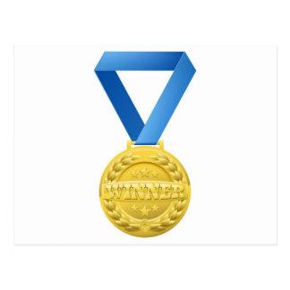 medalla de los ganadores del oro tarjetas postales