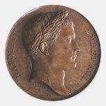 Medalla de Napoleon Bonaparte Pegatina Redonda