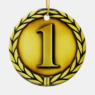 medalla de oro adorno navideño redondo de cerámica