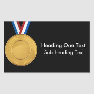Medalla de oro pegatina rectangular