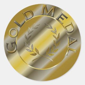 Medalla de oro pegatinas redondas