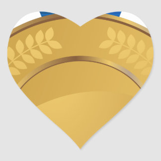 Medalla de oro pegatina en forma de corazón