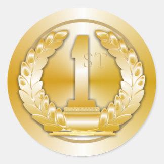Medalla de oro pegatina redonda