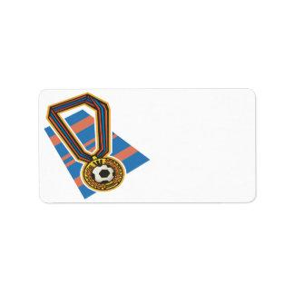 Medalla del fútbol etiqueta de dirección