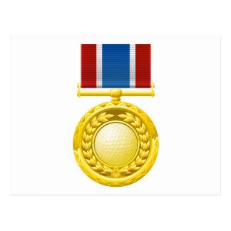 Medalla del golf postales