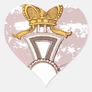 Medalla del grunge del dibujo animado pegatina en forma de corazón