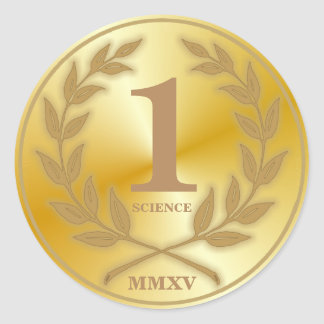 Medalla del oro del estudiante pegatina redonda