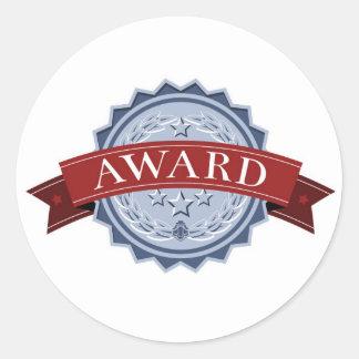 Medalla del premio de los ganadores etiquetas redondas