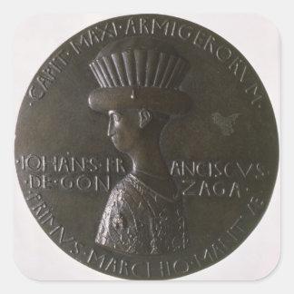 Medalla del retrato que representa Gianfrancesco Pegatina Cuadrada