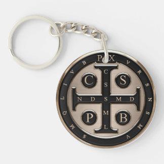 Medalla del St. Benedicto Llavero Redondo Acrílico A Una Cara