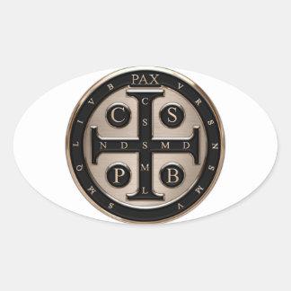 Medalla del St. Benedicto Calcomania De Oval