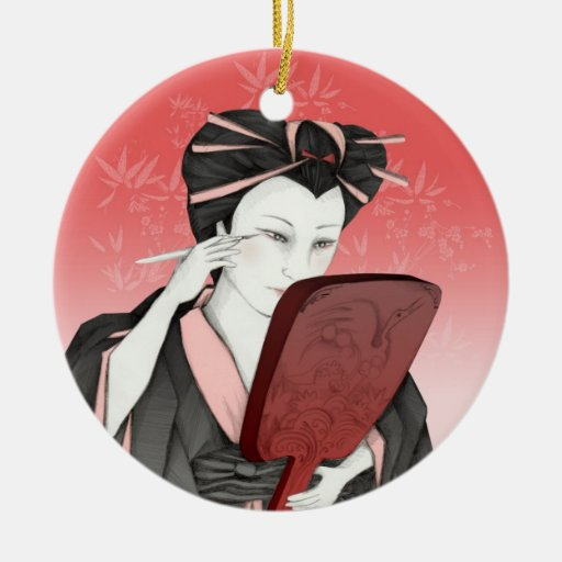 Medalla Geisha Maquillaje Double-Sided Ceramic Round Christmas Ornament