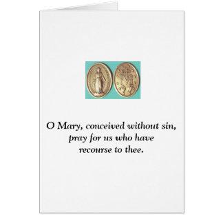 Medalla milagrosa tarjeta de felicitación