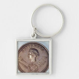 Medalla que conmemora la captura británica de llavero cuadrado plateado