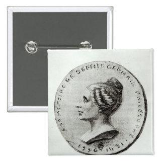 Medalla que representa a Sophie Germain Pin Cuadrado