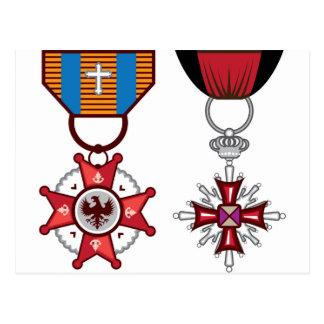 Medallas militares/órdenes del vector falso postal