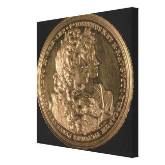 Medallion bearing portraits canvas print