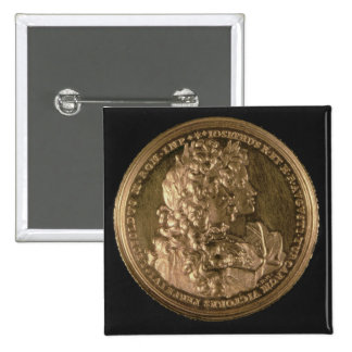 Medallion bearing portraits pinback button