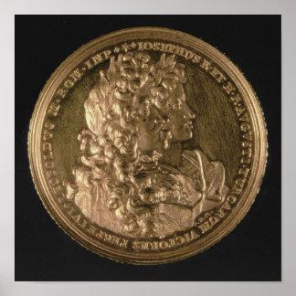 Medallion bearing portraits poster