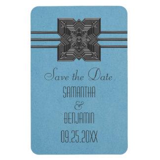 Medallion Border Save the Date Magnet, Blue Magnet