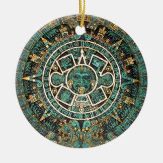 Medallion Coin Ornament, Ancient Aztec Calendar Ceramic Ornament