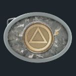"""Medallion Coin Recovery Belt Buckle Granite<br><div class=""""desc"""">MEDALLION COIN RECOVERY SOBRIETY SOBER Belt Buckle - The Circle and Triangle Symbol is used in many Recovery, Sobriety and/or 12-Step Groups Alcoholics NA: Narcotics OA: Over-Eaters GA: Gamblers etc.). Display your sentiments embodied by this symbol or offer it as a gift to someone you care about who does or...</div>"""