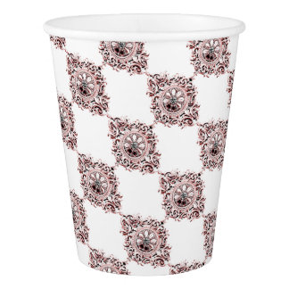 Medallion in Pink and Gray Paper Cup