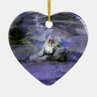 Medallion of Jesus Double-Sided Heart Ceramic Christmas Ornament