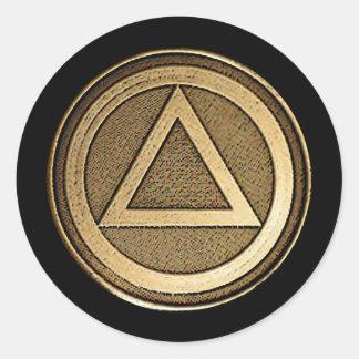 Medallion on Black Recovery Sobriety Sticker