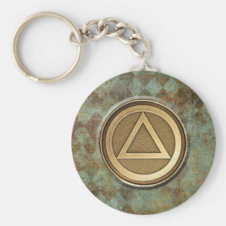Medallion Recovery Sobriety Sober AA Keychain Basic Round Button Keychain