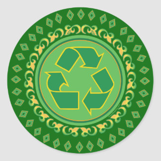 Medallion Recycle Sign Classic Round Sticker