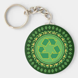 Medallion Recycle Sign Keychain