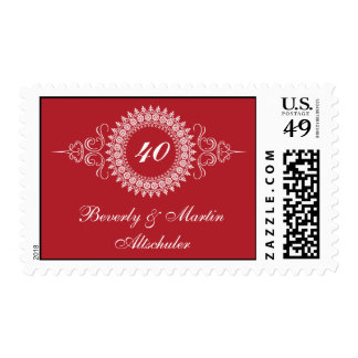 Medallion Red Change the Number Anniversary Postage