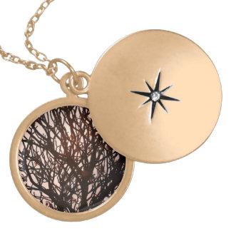 Medallion twigs gold plated necklace