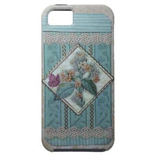 Medallion w/flowers, butterfly & lace aqua/tan iPhone 5 case