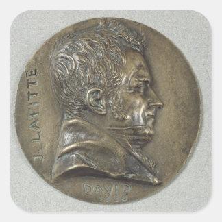 Medallion with a portrait of Jacques Lafitte Square Sticker