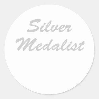 Medallista de plata pegatina redonda