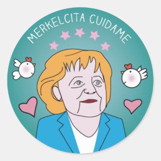 Medallita Merkelcita Takes care of Blue Plis to me Classic Round Sticker