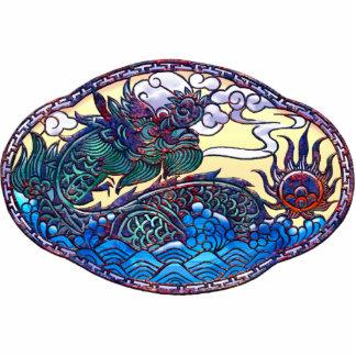 Medallón asiático del dragón pin fotoescultura