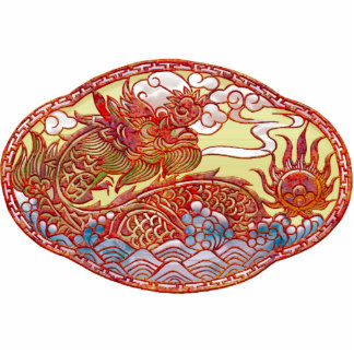 Medallón chino del dragón pin fotoescultura