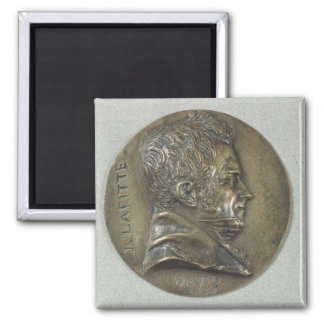 Medallón con un retrato de Jacques Lafitte Imán Cuadrado