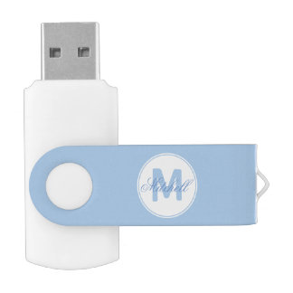 Medallón conocido y con monograma en azul cerúleo pen drive giratorio USB 2.0