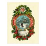 Medallón de la escena de la nieve de las Felices N Tarjetas Postales