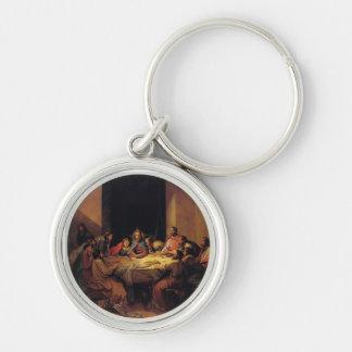 Medallón de la llave de la última cena de Jesús Llavero Redondo Plateado