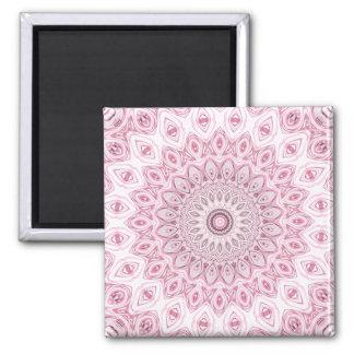 Medallón de la mandala en rosa, blanco y gris imán cuadrado