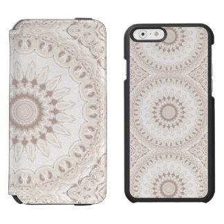Medallón de la mandala en suavemente beige y funda billetera para iPhone 6 watson