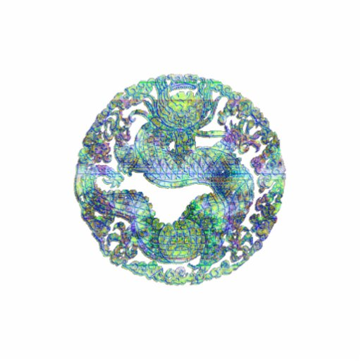 Medallón del dragón de la aguamarina escultura fotográfica