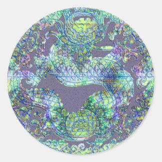 Medallón del dragón de la aguamarina pegatina redonda