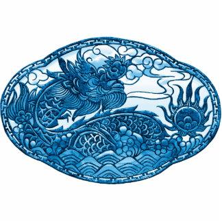 Medallón del dragón de las azules turquesas pin fotoescultura