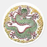 Medallón del dragón etiqueta redonda